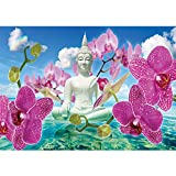 Vlies Fototapete PREMIUM PLUS Wand Foto Tapete Wand Bild Vliestapete - Buddha Orchidee Wolke Wasser Himmel Blüte - no. 589, Größe:368x254cm Vlies