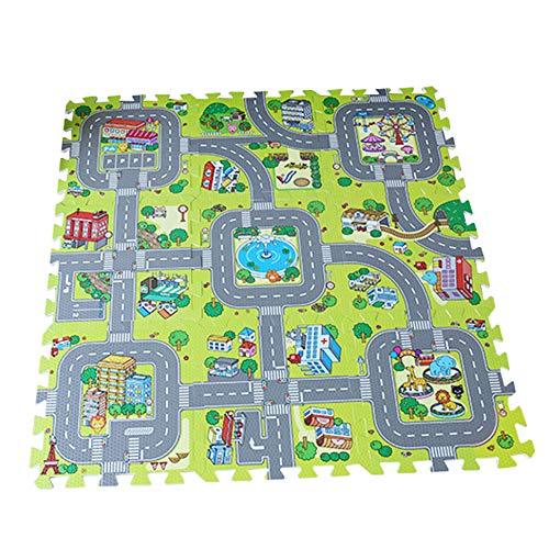 Staright Verkehr Spielmatte Puzzle Schaum Interlocking Fliesen Kinder Straße Verkehr Spielteppich Kinder Pädagogische Spielmatte Teppich Babyspielset Mat