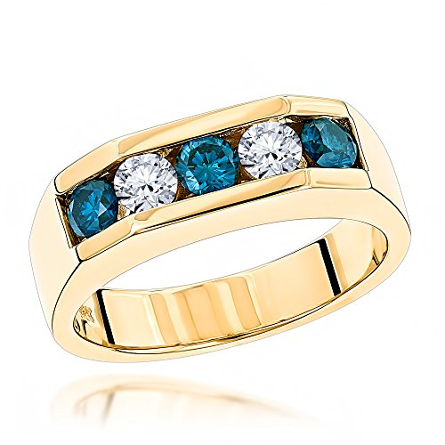 Luxurman Five Stone White Blue Natural 1 Ctw Diamonds Ring 14K Mens Jewelry (Yellow Gold Size 7.5)
