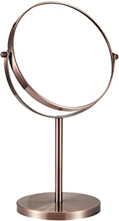 Vanity Mirror Desktop Makeup Mirror 360 Degree Free Rotation Bracket Stainless Steel HD Double-Sided Magnification for Home Dressing Room Red Bronze (Color : Red Bronze, Size : 7 inches)