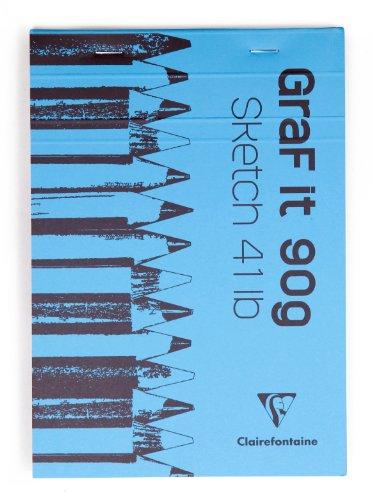 Clairefontaine 96629C Bloc Agrafé GraF'it - 80 Feuilles Papier Dessin Croquis Uni - Feuilles Détachables - A7 7,4x10,5 cm 90g - Couleur de Couverture Aléatoire