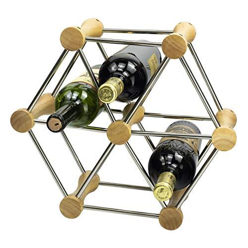 Y-Nut - Portabidones de botellas de vino, bambú y acero inoxidable para botellas de vino, combinación gratuita extraíble
