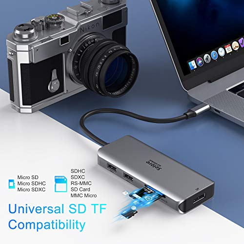 Dockingstation USB C Triple Display Dual HDMI Adapter, 9 in 1 USB C zu Displayport Adapter SD TF Kartenleser 2USB 2.0, 1 USB 3.0, 100W PD für Dell XPS 13/15, Lenovo Yoga, Huawei Matebook X Pro usw. - 6