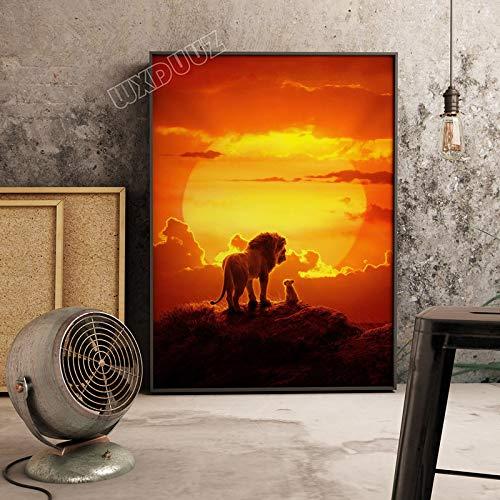 XWArtpic Película de Dibujos Animados en 3D Estadounidense El Rey León Simba impresión de póster habitación para niños Sala de Estar Decoración del hogar Cuadro Lienzo 60 * 80 cm