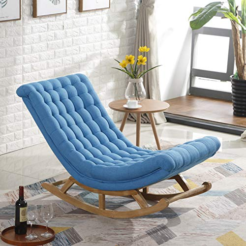 QSLS Schaukelstuhl Mit Hocker, Modern Armchair Mit Massivholzbeinen, Leisure Living Room Balkon Lazy Sofa,Lake Blue/Footstool