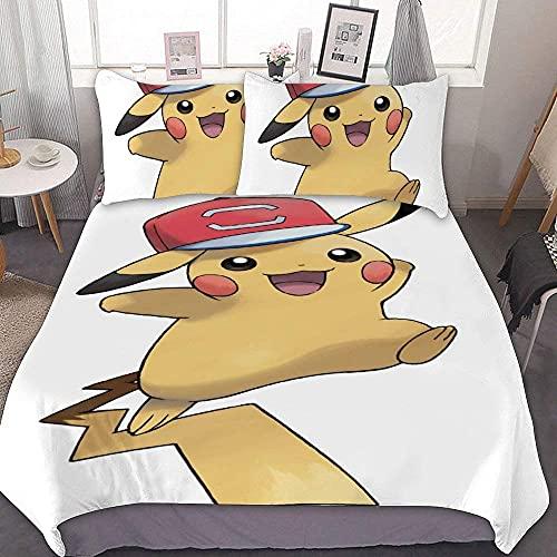 N \ A Juego de funda de edredón de 86 x 70 Pikachu en una gorra (2), juego de cama de 3 piezas, con cierre de cremallera y 2 fundas de almohada, lindos juegos para niños y niñas