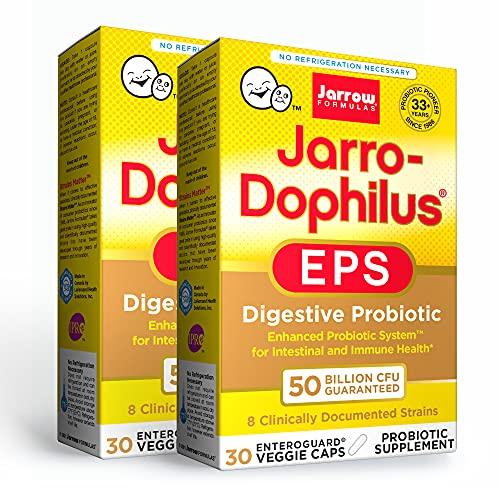 Jarrow Formulas Jarro-Dophilus EPS - 50 Billion Organisms Per Serving - 30 Enteric Coated Veggie Caps, Pack of 2 - Multi-Strain Probiotic - Intestinal & Immune Health - Up to 60 Total Servings