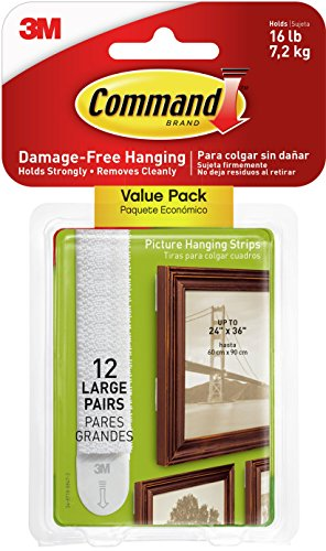 Command Large Picture Hanging Strip, Value Pack containing 12 Sets, Suitable for hanging frames up to 7.2 kg