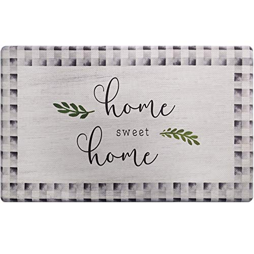 """SoHome Cozy Living Anti Fatigue Kitchen Mat for Floor, Home Sweet Home Themed Cushioned Kitchen Runner Rug Mat, Non Slip, Easy Wipe Clean, 1/2 Inch Thick, 18"""" x 30"""", Grey"""