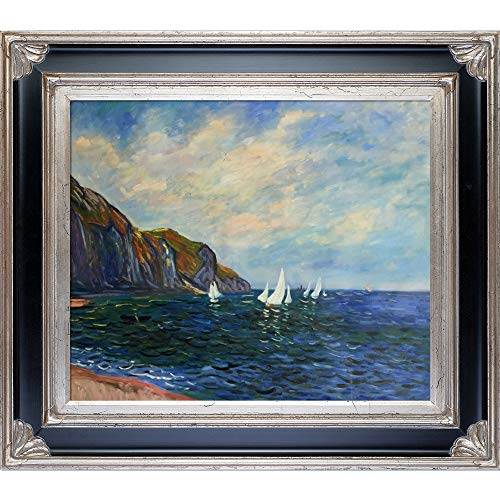 La Pastiche Cliffs and Sailboats at Pourville with Corinthian Aged Silver Framed Oil Painting, 34' x 30', Multi-Color