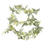 Heritan Hojas de uva falsas vides artificiales colgantes plantas falsas hojas de hiedra verdes guirnalda para decoración de bodas, paredes y festivales