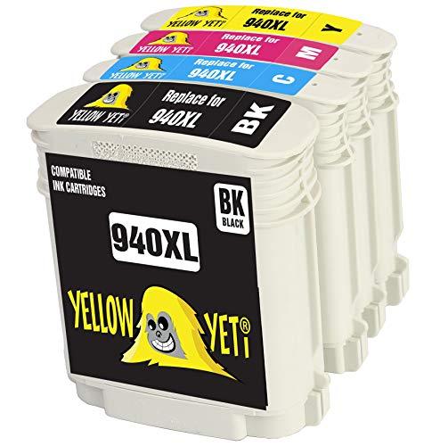 Yellow Yeti Reemplazo para HP 940 940XL Cartuchos de Tinta compatibles con HP OfficeJet Pro 8000 8500 8500A A809a A809n A909a A909g A910a A910g (1 Negro + 1 Cian + 1 Magenta + 1 Amarillo)