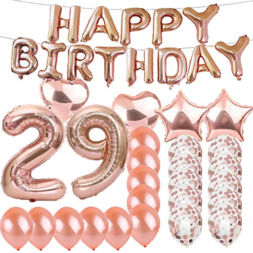 Sweet 29th Birthday Decorations Party Supplies,Rose Gold Number 29 Balloons,29th Foil Mylar Balloons Latex Balloon Decoration,Great 29th Birthday Gifts for Girls,Women,Men,Photo Props