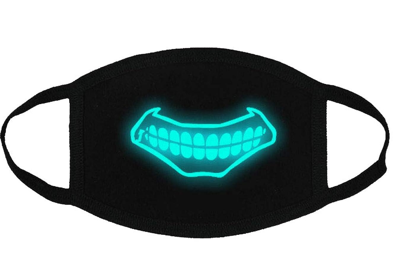 かき混ぜる難民ドアミラークールな光沢のある歯のパターンコットンブレンドアンチダストフェイスマスク、Y4