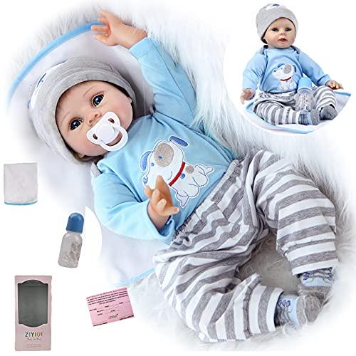 ZIYIUI Bebe Reborn 22 Pulgadas 55 cm bebés Reborn Niños Realista Baby Doll de Vinilo de Silicona Suave Hecho a Mano Reborn Muñecas Bebe Reborn Navidad Regalo