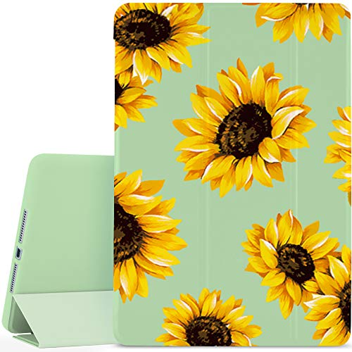 JOYLAND Flower Floral Pad Case Cover for iPad Pro 10.2' (2019) Green Case Lovely Sunflowers Anti-Scratch Shockproof Lightweight Smart Trifold Stand Cover Soft TPU Cover for iPad Pro 10.2'(2019)