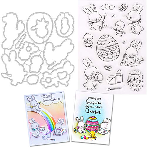 37YIMU 2 Pack Cutting Dies Clear Stamper Set Metal Cartoon Bunny Cut Die Easter Egg Silicone Stamps DIY Rabbit Embossing Moulds 3D Stencil Template for Card Making Decoration Kids Art Craft Gift