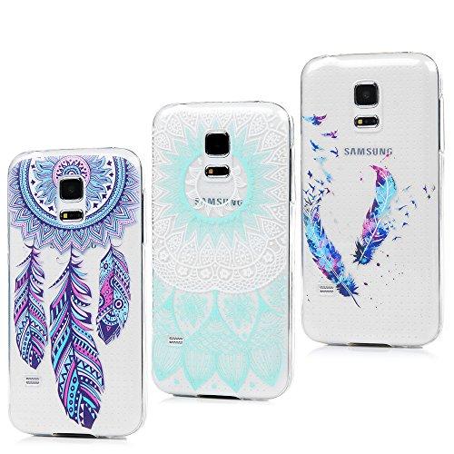 S5 Mini Hülle, 3 Packs Ultra TPU Case für Samsung Galaxy S5 Mini, Etui Schale Schutzhülle Protective Weiche Cover Handyhülle Buntes Shell in Blaue Mandala Totem+Buntes Feder+Windspiele Traumfänger