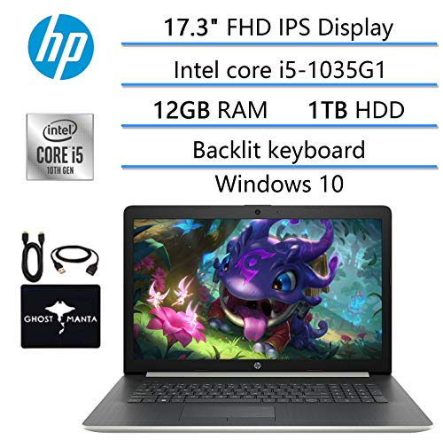 2020 Newest HP 17.3' FHD Laptop for Bussiness and Student, 10th Gen Intel Quad-Core i5-1035G1 (Beat i7-7260U), 12GB RAM, 1TB HDD, DVD Writer, Backlit Keyboard, Win10, w/ Ghost Manta Accessories