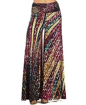 Zoozie LA Women s Palazzo Pants Leopard Purple Magenta Teal S