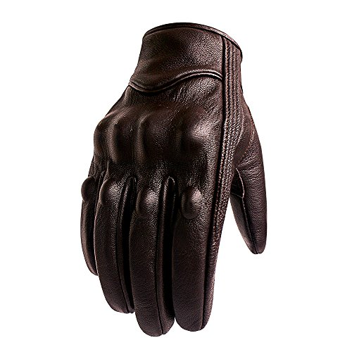 Superbike Brown Leather Motorcycle Gloves Hard Knuckle Armored Touchscreen Motorcycle Riding Gloves (M, Brown,Non-Perforated)