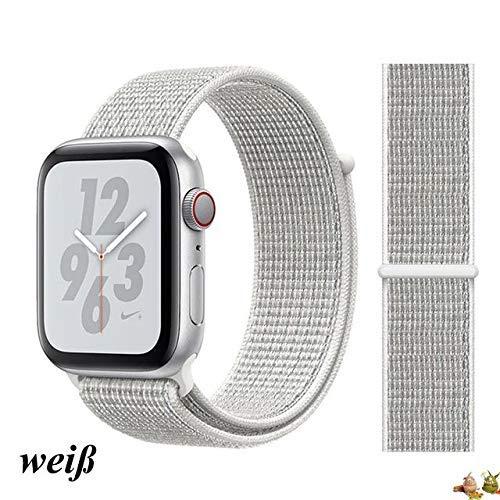 Stoffe-Monster kompatibel mit Apple Watch Armband Sport Loop weiß/White 38mm / 40mm