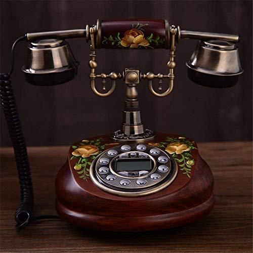 LDDZB Europeo Antiguo Madera Teléfono Retro Teléfono Creativo Hogar Oficina Teléfono Clásico Landline