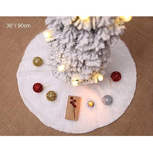 Andiker Weihnachtsbaum Rock weiß, schneeweiß Kunstpelz Tannenbaum Rock Basisabdeckung, Bodenmatte Abdeckung, Neujahr Partyzubehör Dekorationen Weihnachtsbaumständer (Weiß, 90CM)