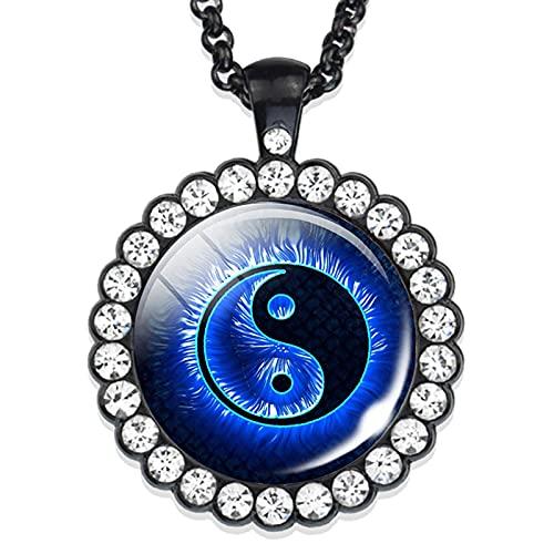 Revilium Collar Yin Yang De Cristal con Colgante De Diamantes De Imitación, Joyería De Meditación De Yoga para Hombres, Mujeres, 48Cm
