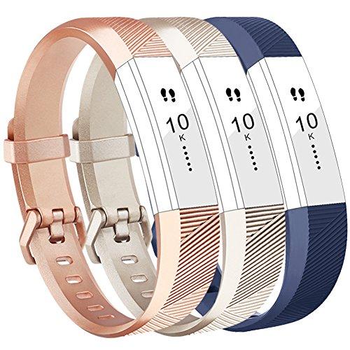Vancle Fitbit Alta HR Armband, Fitbit Alta Armband Weiches Sports Ersetzerband Silikagel Fitness Verstellbares Uhrenarmband für Fitbi Alta und Fitbit Alta HR (Champagne Rosegold Blue, Small)