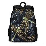 3d azul y oro japonés libélula unisex mochila mochila mochila mochila mochila para mujeres hombres niños