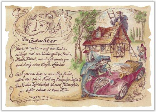 Geschenk Gutachter Sachverständiger Zeichnung Color 30 x 21 cm