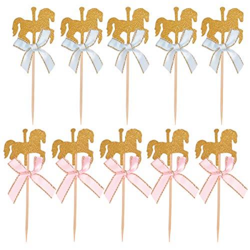 Nuobesty 20 Stück Pferd Kuchen Toppers Tiere Cupcake Toppers Pferd Karussell Dekoration für Kinder Party Geburtstag Baby Shower 12x4.5x0.3cm Rosa, Blau.
