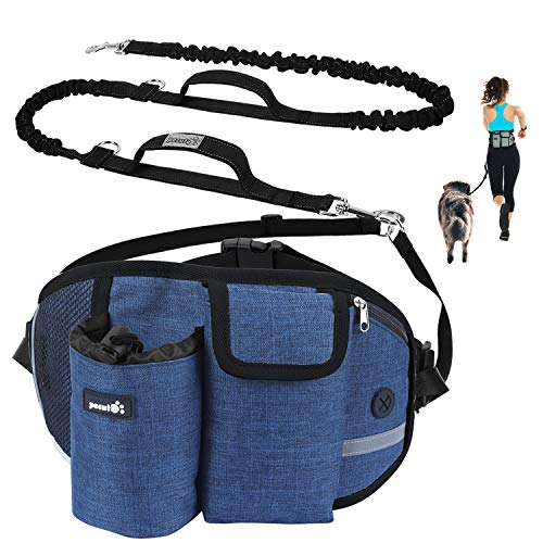 Pecute Joggingleine für Kleine Hunde, Jogging Hundeleine für große und mittelgroße Hunde, Elastische und reflektierende Laufleine, freihändige Leine mit Gürteltasche (Blau)