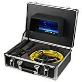 Ennio Pipe Inspection Video Camera, 20M/30M IP68 Waterproof Drain Pipe Sewer Inspection Camera System 7' LCD DVR 1000TVL Camera with 6W LED Lights 8GB SD Card