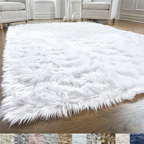 Gorilla Grip Original Premium Faux Fur Area Rug, 3x5, Softest, Luxurious Shag Carpet Rugs for Bedroom, Living Room, Luxury Bed Side Plush Carpets, Rectangle, Pure White