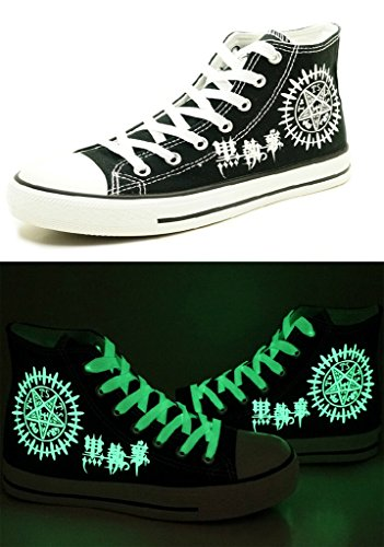 Telacos Black Butler Kuroshitsuji Anime Logo Cosplay Zapatos Lienzo Zapatos Zapatillas Luminoso