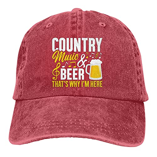 Jopath Country Music & Beer Thats Why Im Here-10 Hats,Unisex Soft Casquette Cap Vintage ajustable Retor Baseball Caps