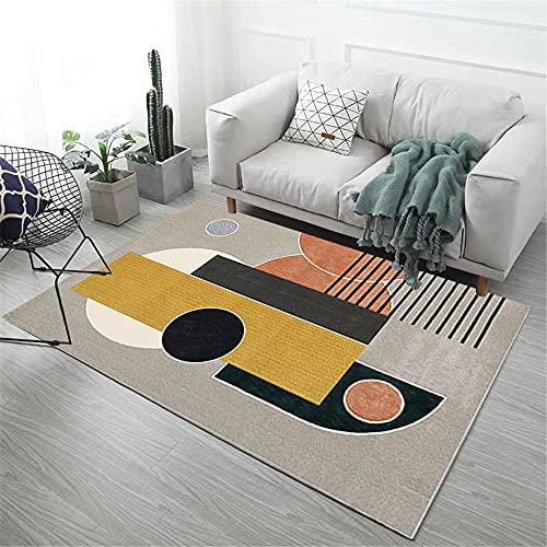 camas modernas Amarillo Alfombra de sala de estar gris abstracto geométrico moderno alfombra duradera anti-ácaros alfombra para silla gaming 200X300CM alfombras salon modernas 6ft 6.7''X9ft 10.1''