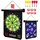 Power Your Fun Magnetic Dart Board for Kids - Roll Up Double Sided Toy Dart Board Indoor Outdoor Velcro Dart...
