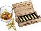 Whiskey Stone Bullets Gift Set - Stainless Steel Bullet shaped Whiskey Stones in a Wooden Army Crate | Reusable Bullet Ice Cube for Whiskey | Whiskey Gift Set for Men, Dad, Husband, Boyfriend (Gold)