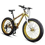Xiaoyue 27-Gang-Fat Tire Mountain Bikes, Erwachsene 26 Zoll All Terrain Mountainbike, Alurahmen Hardtail Mountainbike mit Doppelscheibenbremse, Gelb lalay (Color : Yellow)