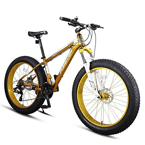 CWZY 27-Speed Fat Tire Mountain Bikes, Adult 26 Inch All Terrain Mountain Bike, Aluminum Frame Hardtail Mountain Bike with Dual Disc Brake,Yellow