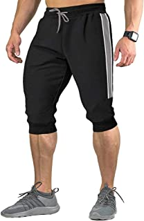 FASKUNOIE Men's 3/4 Joggers Gym Workout Capri Pants Below Knee Length with Three Pockets