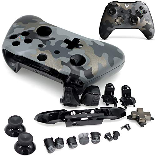Deal4GO Controller Housing Shell Case Cover Full Set Faceplates Replacement Kits with Buttons for Xbox One S Controller Night Ops Camo Special Edition