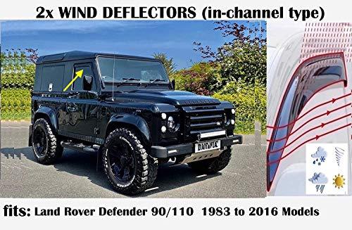 OEMM Windabweiser für Land Rover Defender 90/110 SUV 1983 bis 2019, Acrylglas, Seitenvisier, Fensterabweiser, 2 Stück