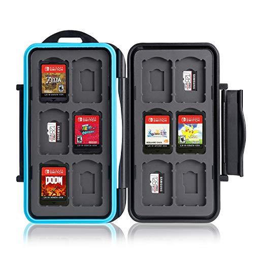 Ares Foto Caja de protección. para 12 Juegos de Nintendo Switch • Estuche para Tarjetas de Memoria • Bolsa de Viaje • Estuche Protector • Caja Fuerte para Tarjetas • Estuche Cartuchos