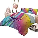 Juego de edredón para niños Ibiza, suave y ligero, para todas las estaciones, diseño de salpicaduras de pintura grunge de color arcoíris con fiesta de Ibiza, temporada de verano, festividad, tamaño ki