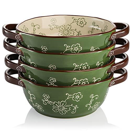 AVLA 4 Pack Ceramic Soup Bowls, 22 Ounces Porcelain Serving Bowl Set with Double Handle, Large Ceramic Crocks for French Onion Soup, Stew, Pasta, Cereal, Pot Pies ( Green )