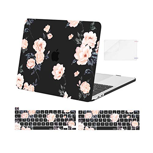 MOSISO Compatible with MacBook Pro 13 inch Case 2016-2020 Release A2338 M1 A2289 A2251 A2159 A1989 A1706 A1708, Plastic Camellia Hard Shell Case&Keyboard Cover Skin&Screen Protector, Black